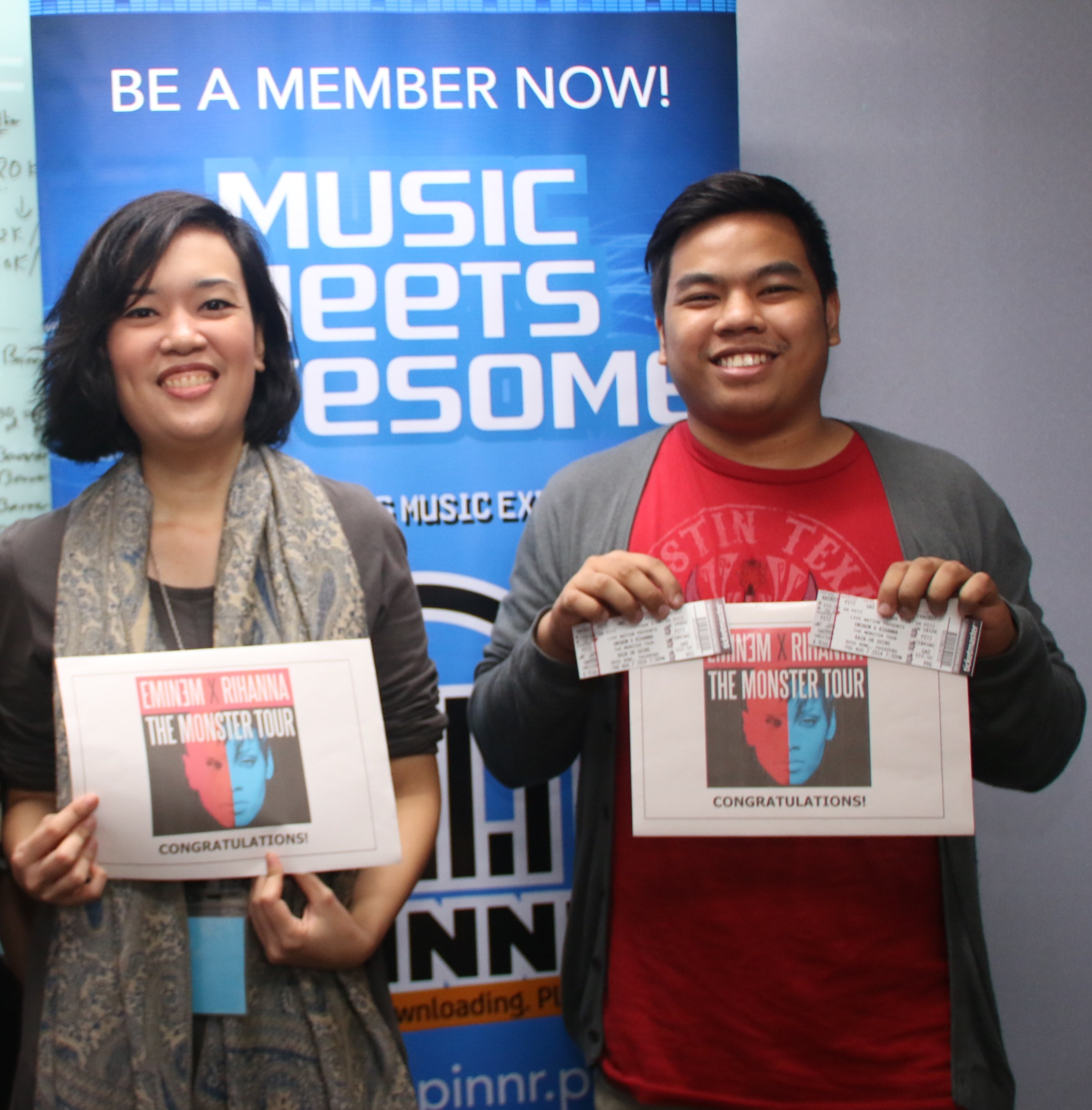 Winners of spinnr promo fly to la for eminem rihanna concert dawn jalandoni left and choi padilla win vip tickets to eminem and rihannas monster tour concert in la m4hsunfo