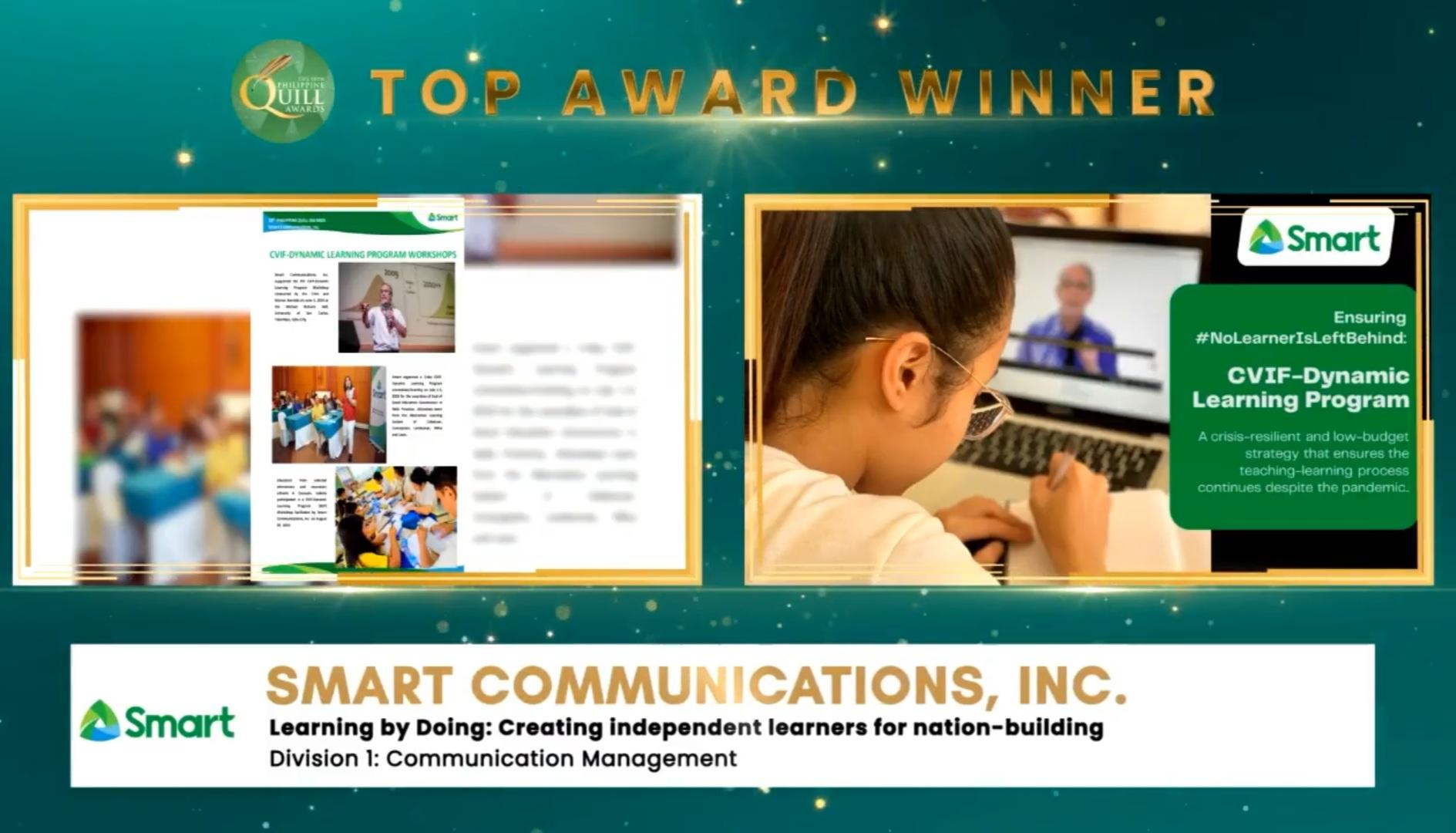 PLDT and Smart 18th Ph Quill Awards - The Smart-backed CVIF Dynamic Learning Program was named Top Entry for Communication Management